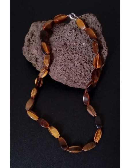 Collier oeil de tigre pierres torsadées