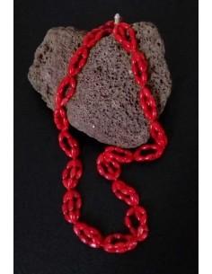 Collier corail perles reconstituées ovales 44 cm