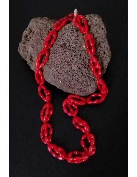 Collier corail perles reconstituées ovales