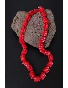 Collier corail perles tressées pierre reconstituée 44 cm