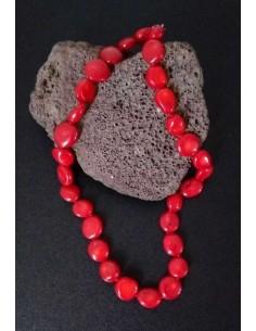 Collier corail reconstitué perles rondes difformes