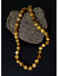 Collier oeil de tigre clair pierres boules 8 mm