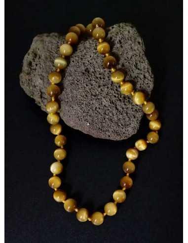 Collier oeil de tigre pierres boules 8 mm