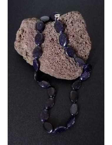 Collier pierre du soleil noire ovale