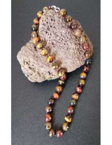 Collier œil de tigre/faucon /taureau pierres boules 10 mm