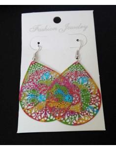 Boucles d'oreilles pendantes gouttes filigranes colorées