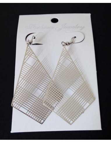Boucles d'oreilles fantaisie pendantes géométriques filigranes