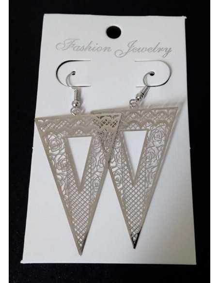 Boucles d'oreilles géométriques triangles inversé filigranes