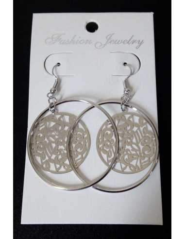Boucles d'oreilles créoles avec pendants motifs notes de musique