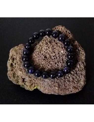 Bracelet pierre du soleil noire perles boules 10 mm