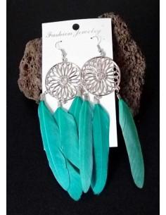 Boucles d'oreilles ethniques plumes fantaisie