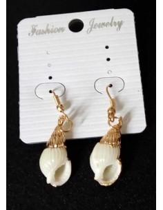 Boucles d'oreilles coquillage pendantes