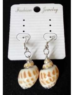 Boucles d'oreilles coquillage allongé pendantes