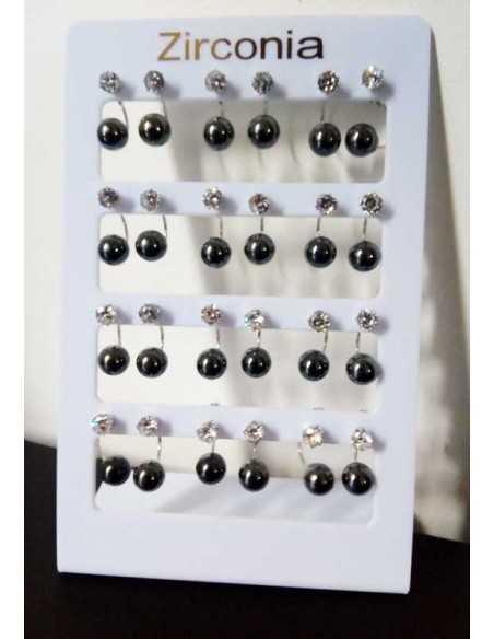 12 paires de boucles d'oreilles perles sur présentoir