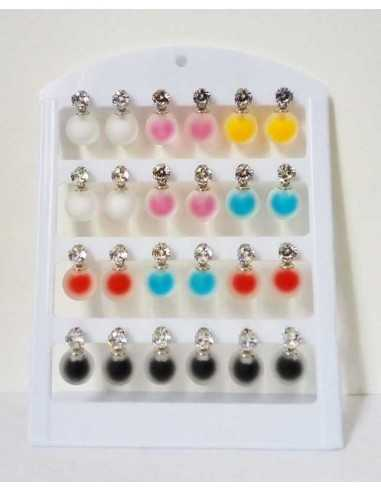 12 paires de boucles d'oreilles boules opaques sur présentoir