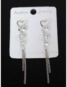 Boucles d'oreilles pendantes coeur et chaines