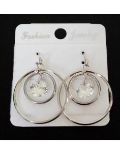 Boucles d'oreilles créoles pendantes & zirconium