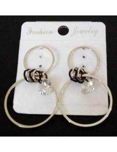 Boucles d'oreilles créoles fantaisie pendantes & zircon