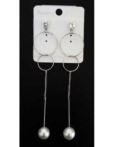 Boucles d'oreilles pendantes géométriques & perles