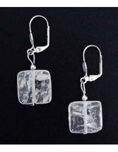 Boucles d'oreilles cristal de roche pierres carrées