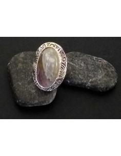 Bague pierre naturelle améthyste ovale taille réglable