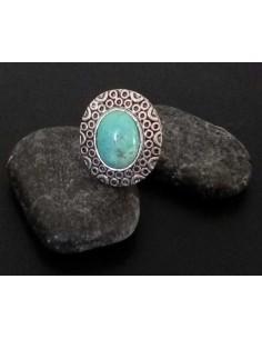 Bague turquoise de synthèse ovale ajustable