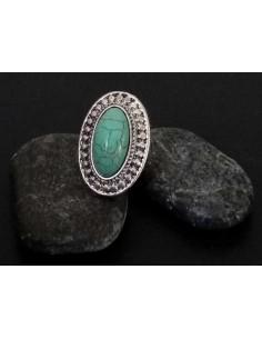 Bague turquoise de synthèse ovale style ethnique ajustable
