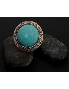 Bague turquoise de synthèse ronde large ajustable