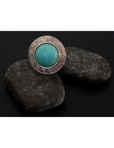 Bague turquoise de synthèse ronde style ethnique ajustable