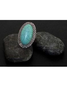 Bague turquoise de synthèse ovale allongée ajustable