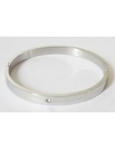 Bracelet acier jonc serti d'un zirconium