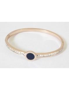 Bracelet jonc acier rose zirconiums cubiques incrustés