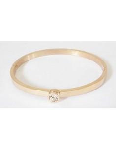 Bracelet jonc acier rose zirconium incrusté au centre