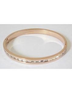 Bracelet jonc acier rose zirconiums cubiques incrustés sur le contour