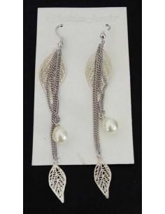 Boucles d'oreilles pendantes feuilles et perle