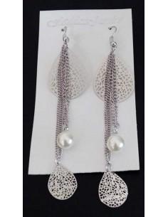 Boucles d'oreilles pendantes gouttes et perle