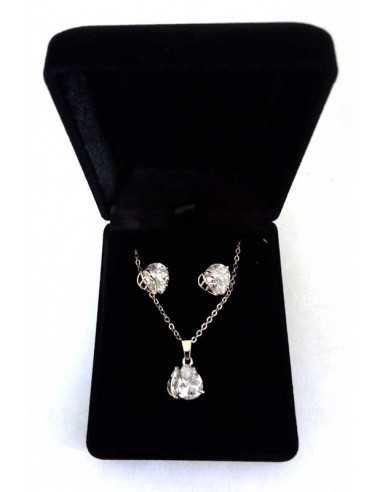 Parure bijoux en coffret collier pendentif feuille zirconium & boucles