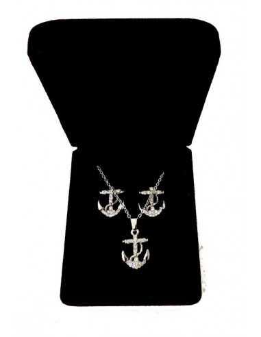 Parure bijoux en coffret collier pendentif ancre marine & boucles
