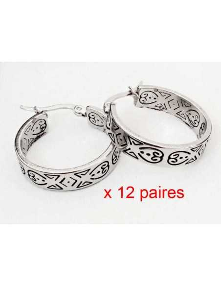 12 paires de boucles d'oreilles acier créoles avec motifs 4 cm