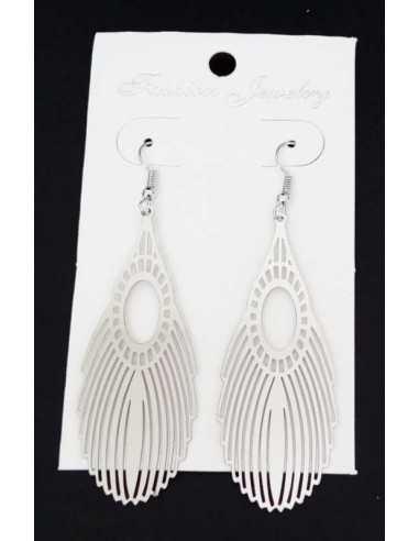 Boucles d'oreilles acier pendantes motif aile de paon géométrique