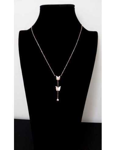 Collier acier gold pendentifs papillons