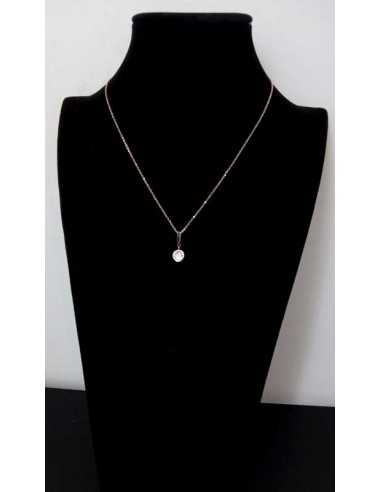 Collier acier gold pendentif perle zirconium