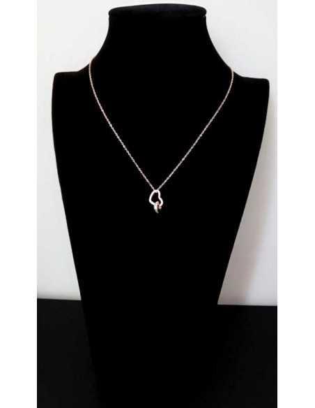 Collier acier gold pendentif coeur et anneau serti de zriconiums