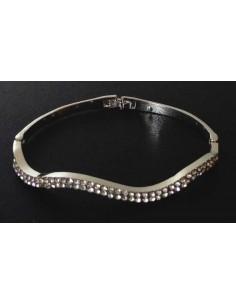 Bracelet jonc argenté difforme oxydes de zirconium 2 rangées