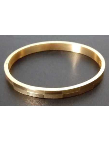 Bracelet jonc acier avec motifs damiers