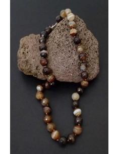 Collier pierre agate boules 10 mm facettées marron