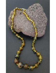 Collier pierre agate boules tailles dégradées facettées vert kaki