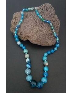 Collier pierre agate boules tailles dégradées facettées bleu