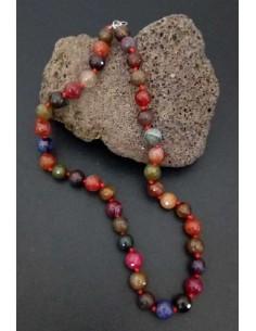 Collier pierre agate boules facettées 10 mm multicolore