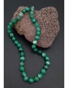 Collier pierre agate vertes boules facettées 10 mm